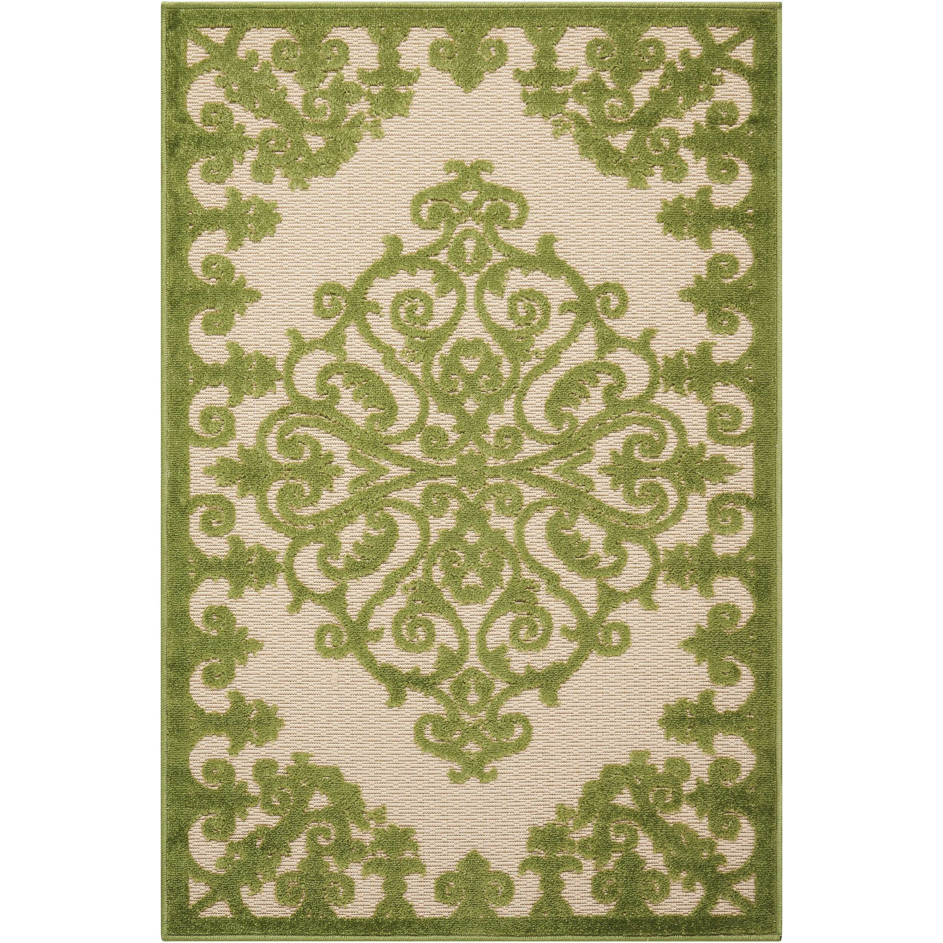 "2'8"" x 4' Green Rectangle Rug"