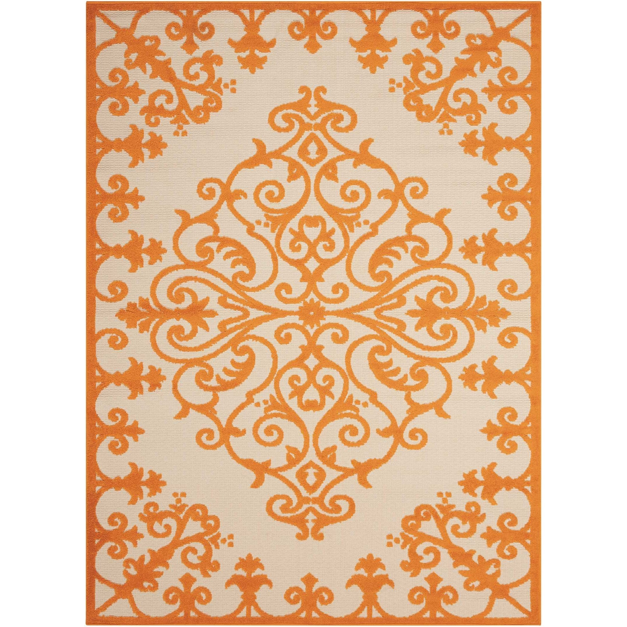 """Aloha 3'6"""" x 5'6"""" Orange Rectangle Rug by Nourison at Home Collections Furniture"""