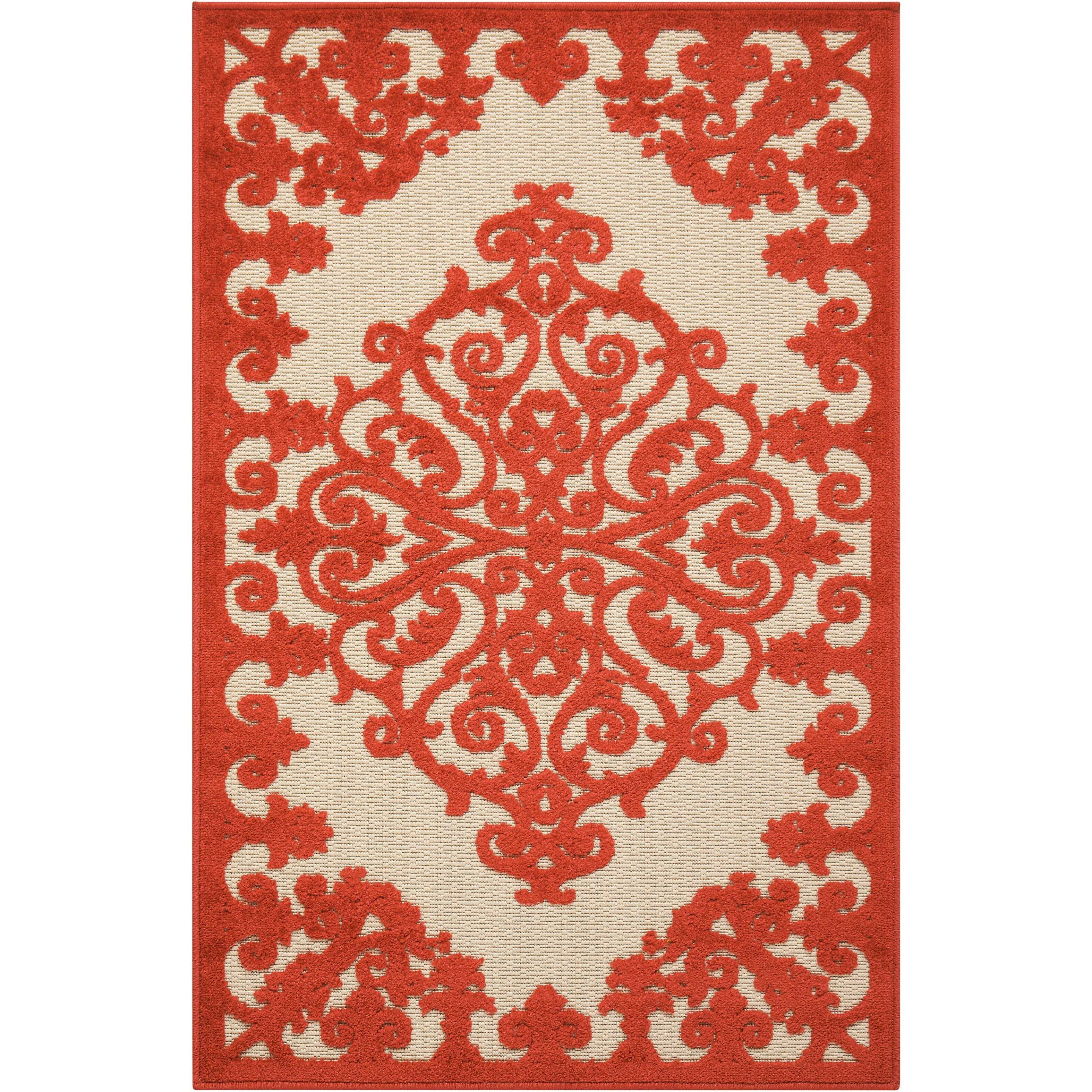 "Aloha 2'8"" x 4' Red Rectangle Rug by Nourison at Sprintz Furniture"