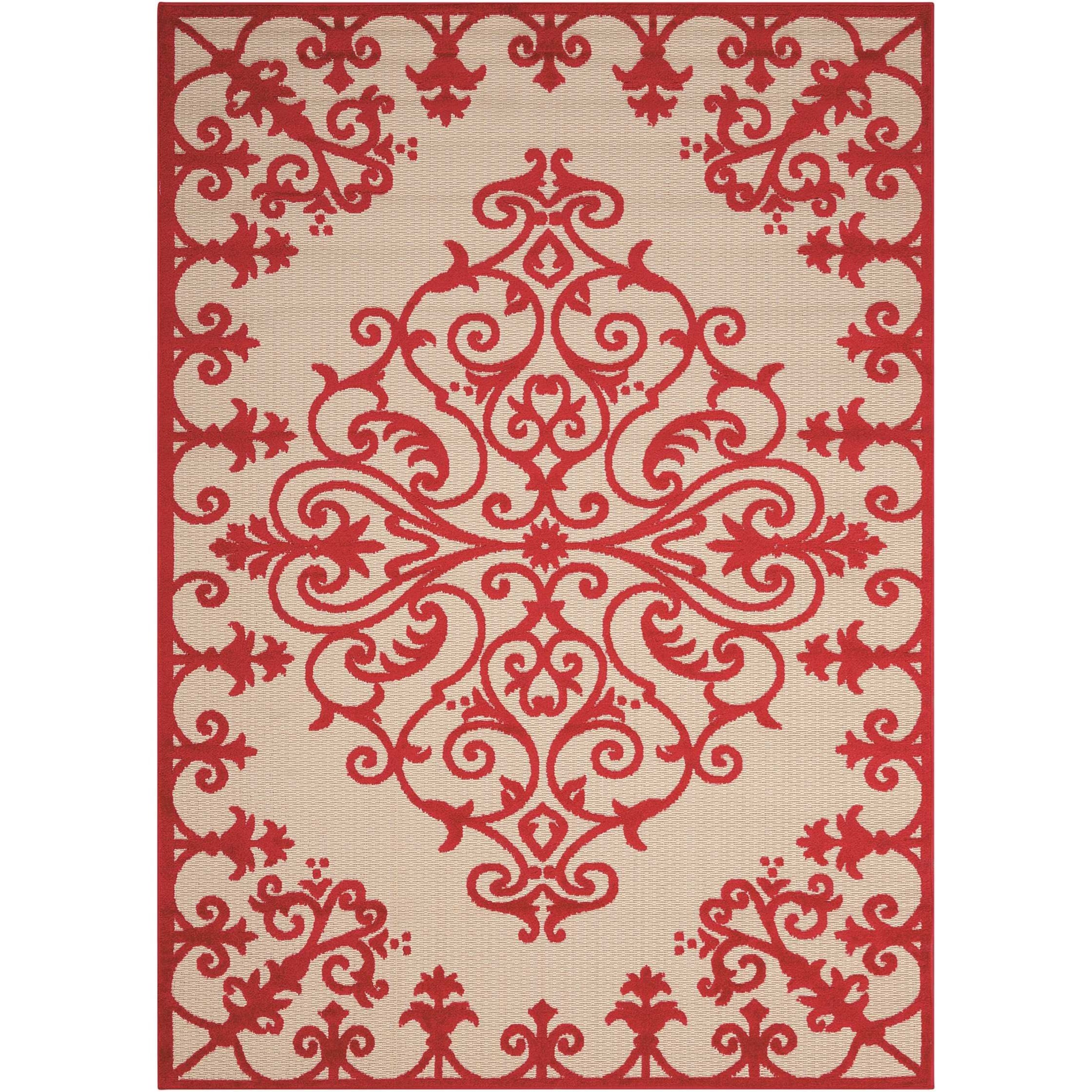 "Aloha 5'3"" x 7'5"" Red Rectangle Rug by Nourison at Home Collections Furniture"