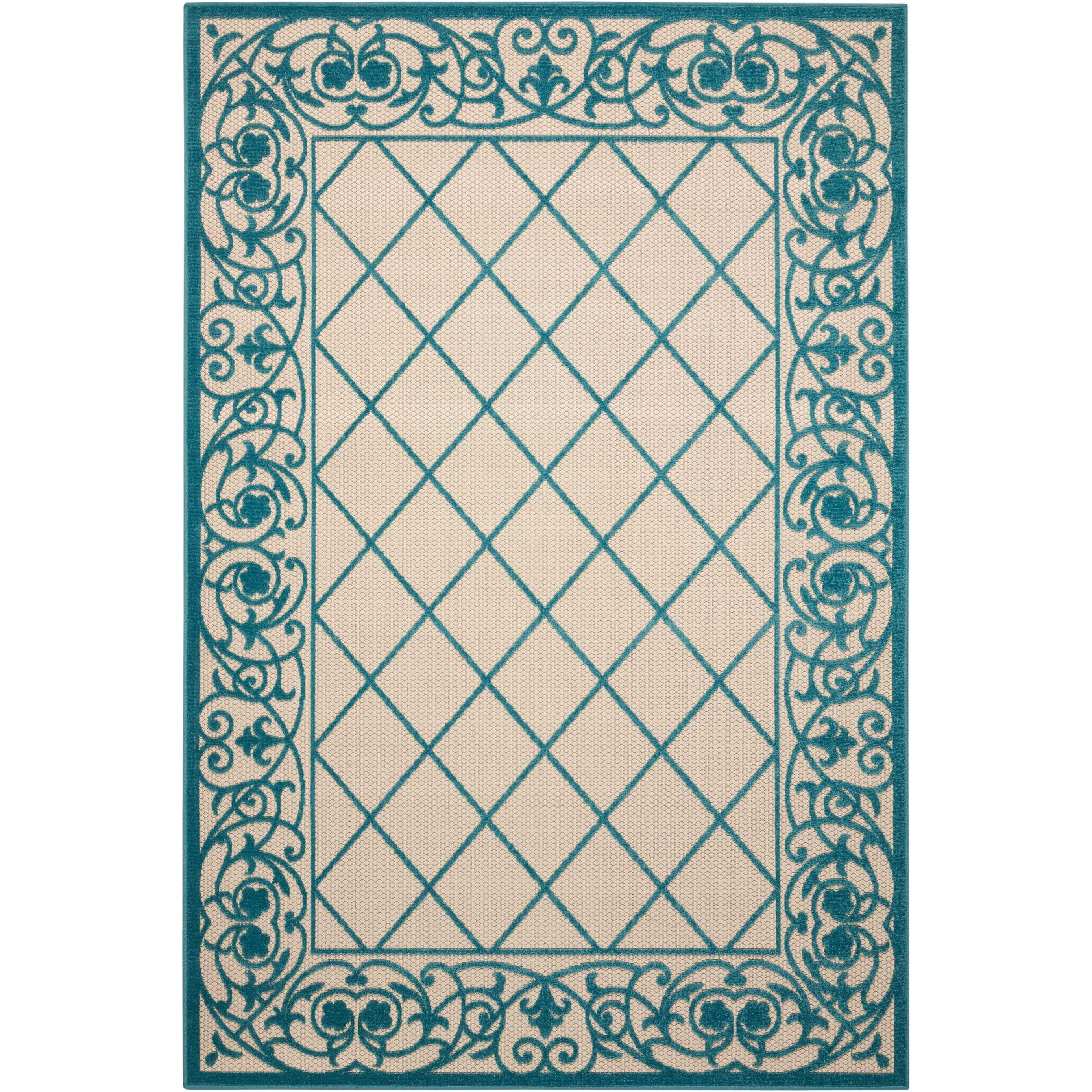 """Aloha 3'6"""" X 5'6"""" Aqua Rug by Nourison at Home Collections Furniture"""