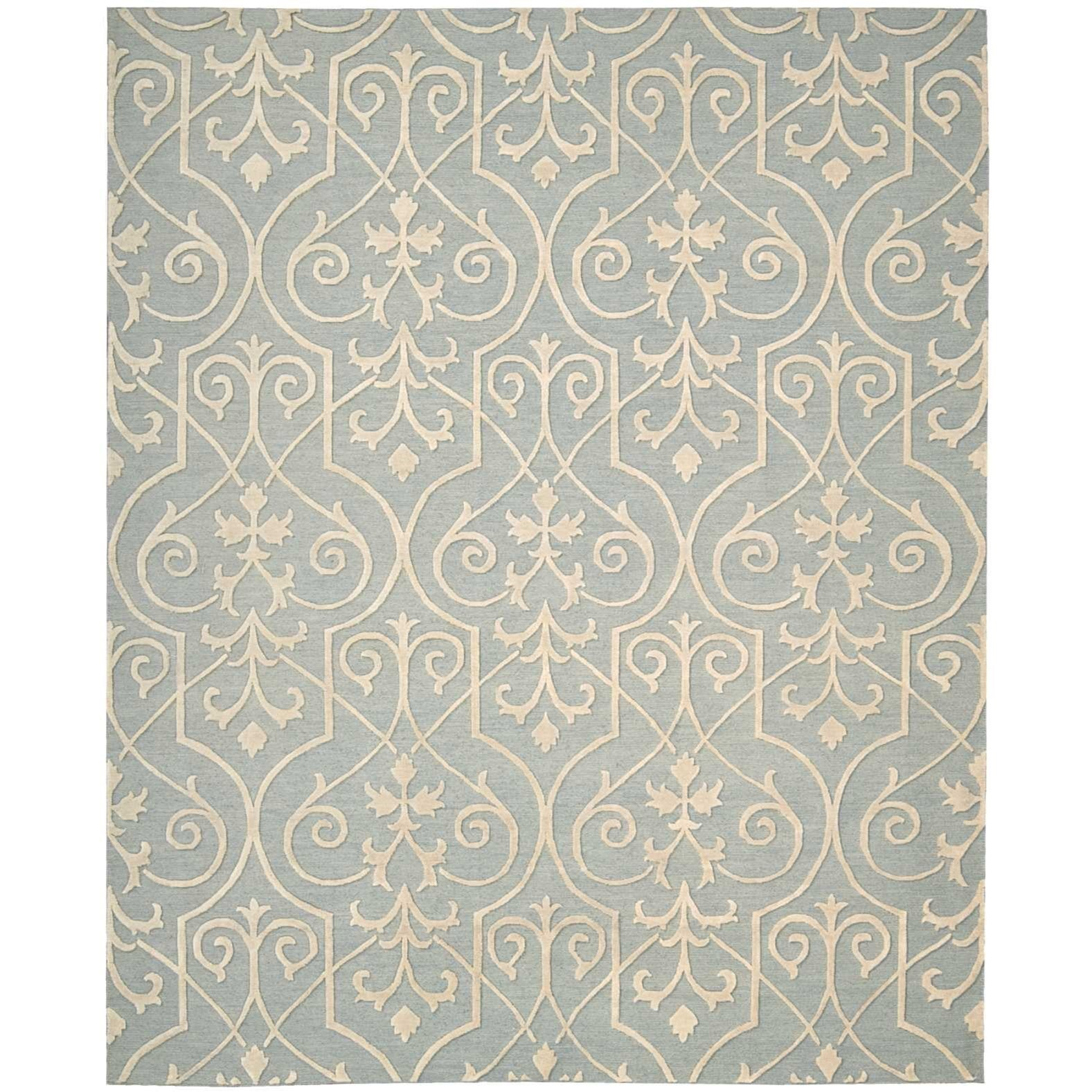 """Ambrose 7'9"""" x 9'9"""" Blue Rectangle Rug by Nourison at Home Collections Furniture"""