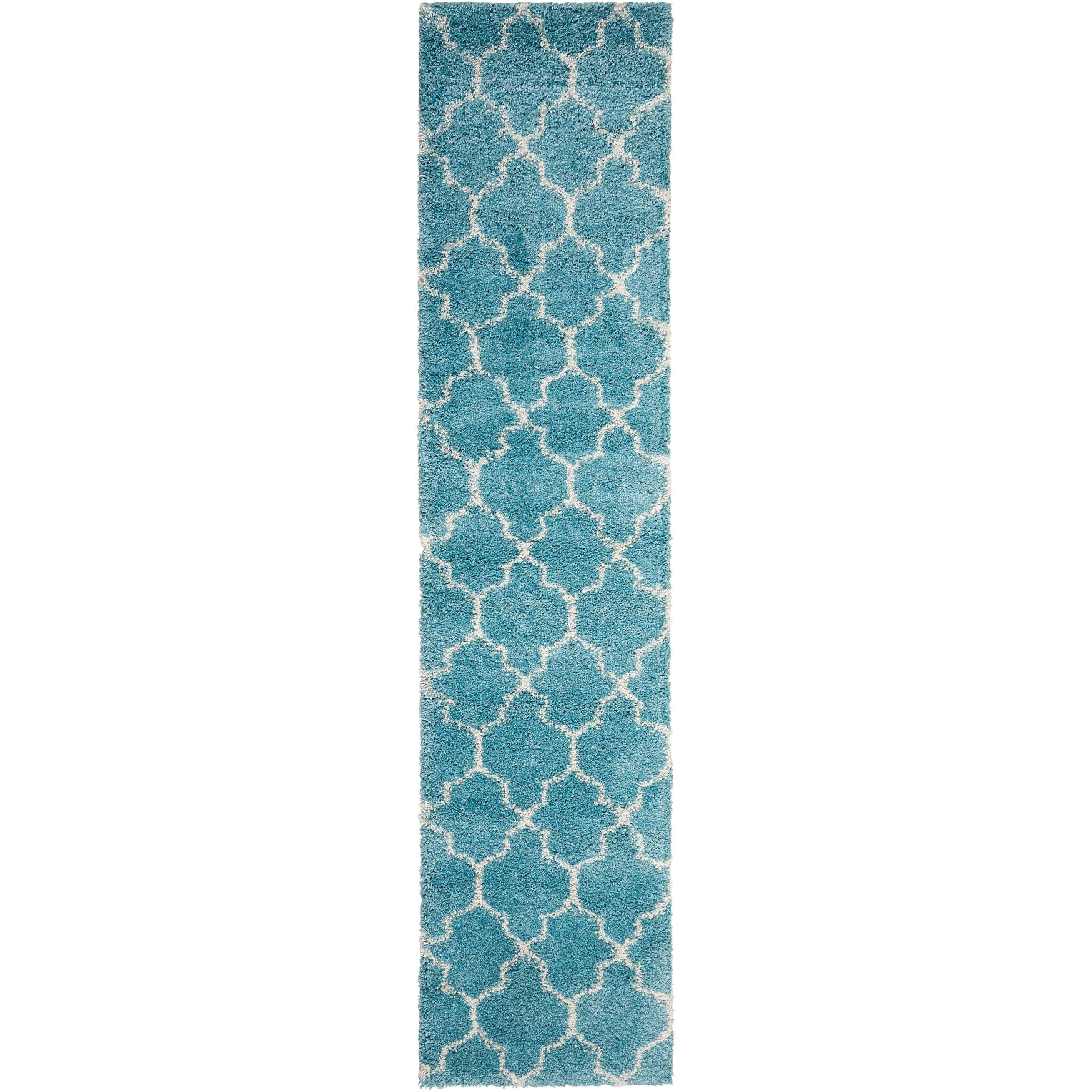 """Amore 2'2"""" x 10' Aqua Runner Rug by Nourison at Home Collections Furniture"""