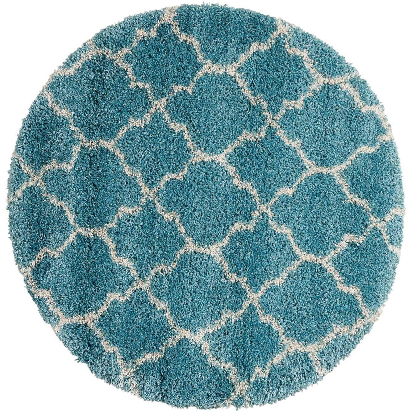 """Amore 3'11"""" x 3'11"""" Aqua Round Rug by Nourison at Home Collections Furniture"""