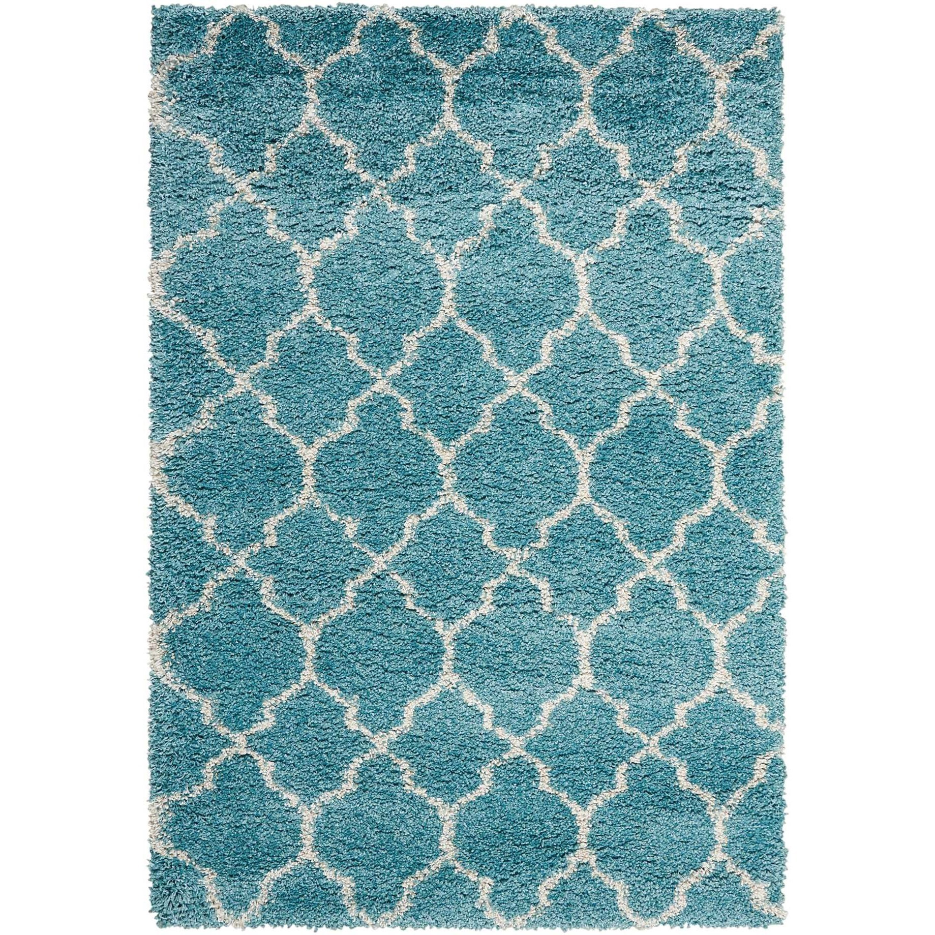 "Amore 3'11"" x 5'11"" Aqua Rectangle Rug by Nourison at Home Collections Furniture"