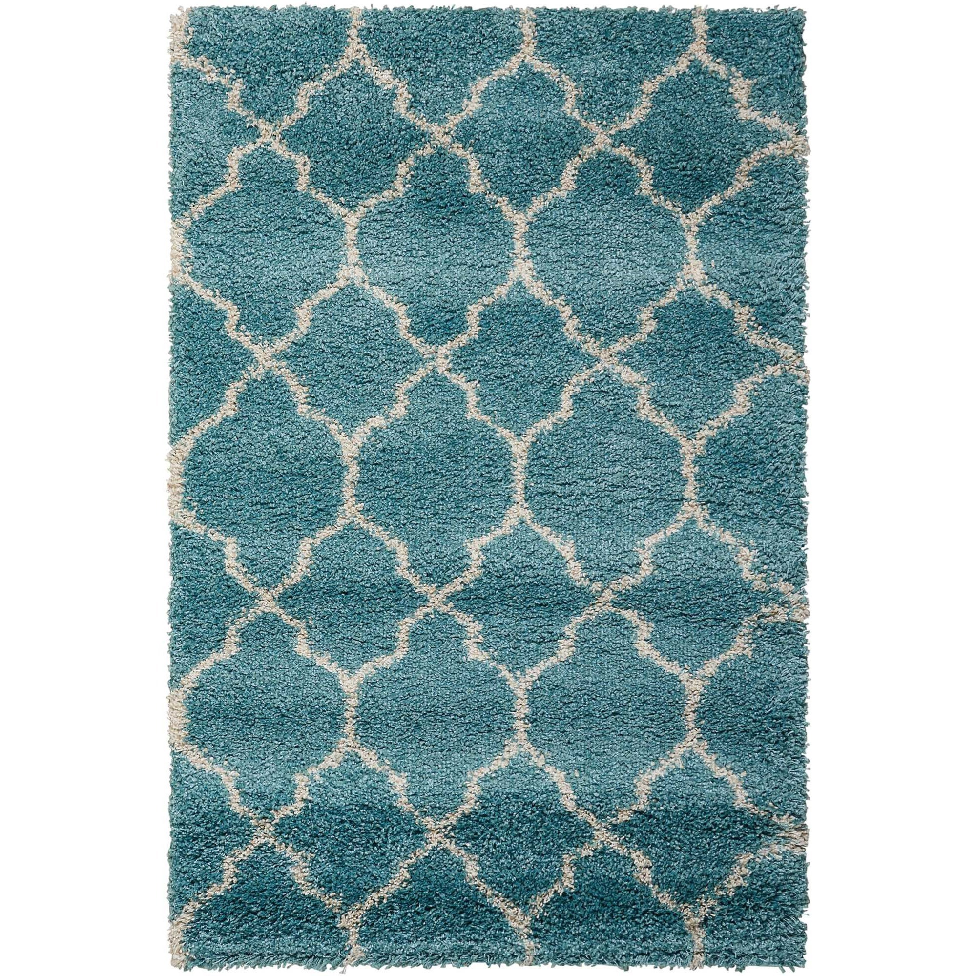 "Amore 3'2"" x 5' Aqua Rectangle Rug by Nourison at Home Collections Furniture"