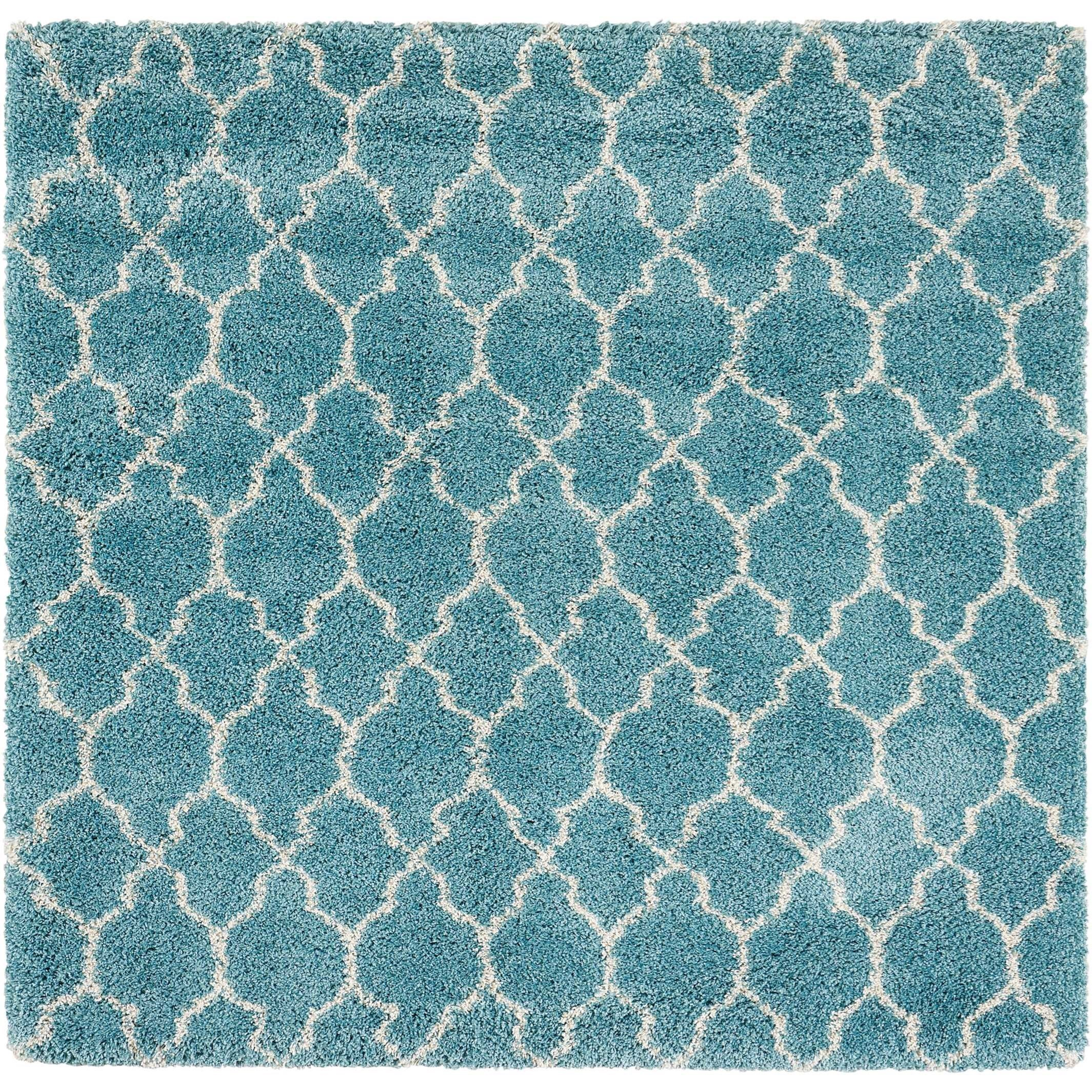 "6'7"" x 6'7"" Aqua Rectangle Rug"