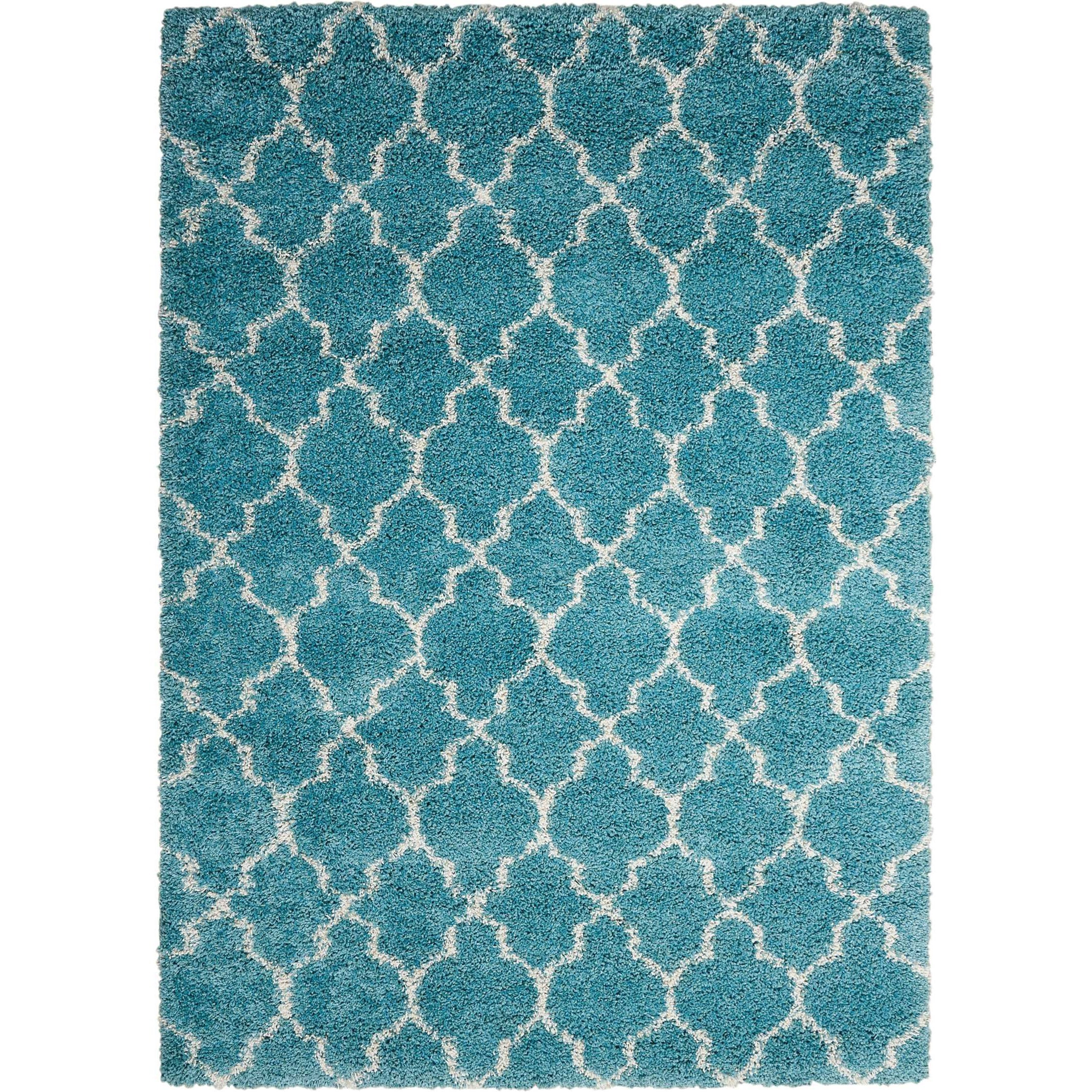"Amore 6'7"" x 9'6"" Aqua Rectangle Rug by Nourison at Home Collections Furniture"