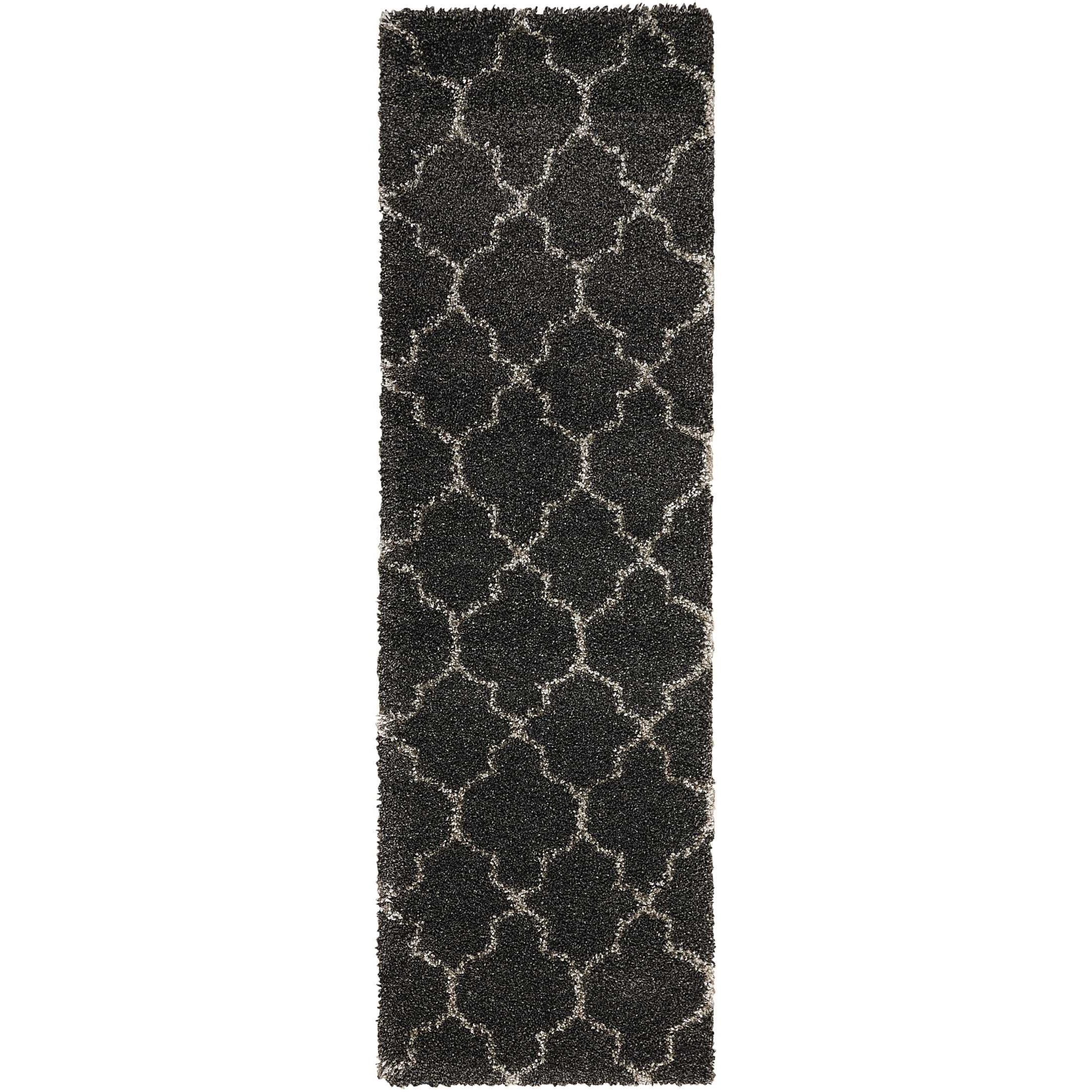 """Amore 2'2"""" x 7'6"""" Charcoal Runner Rug by Nourison at Home Collections Furniture"""