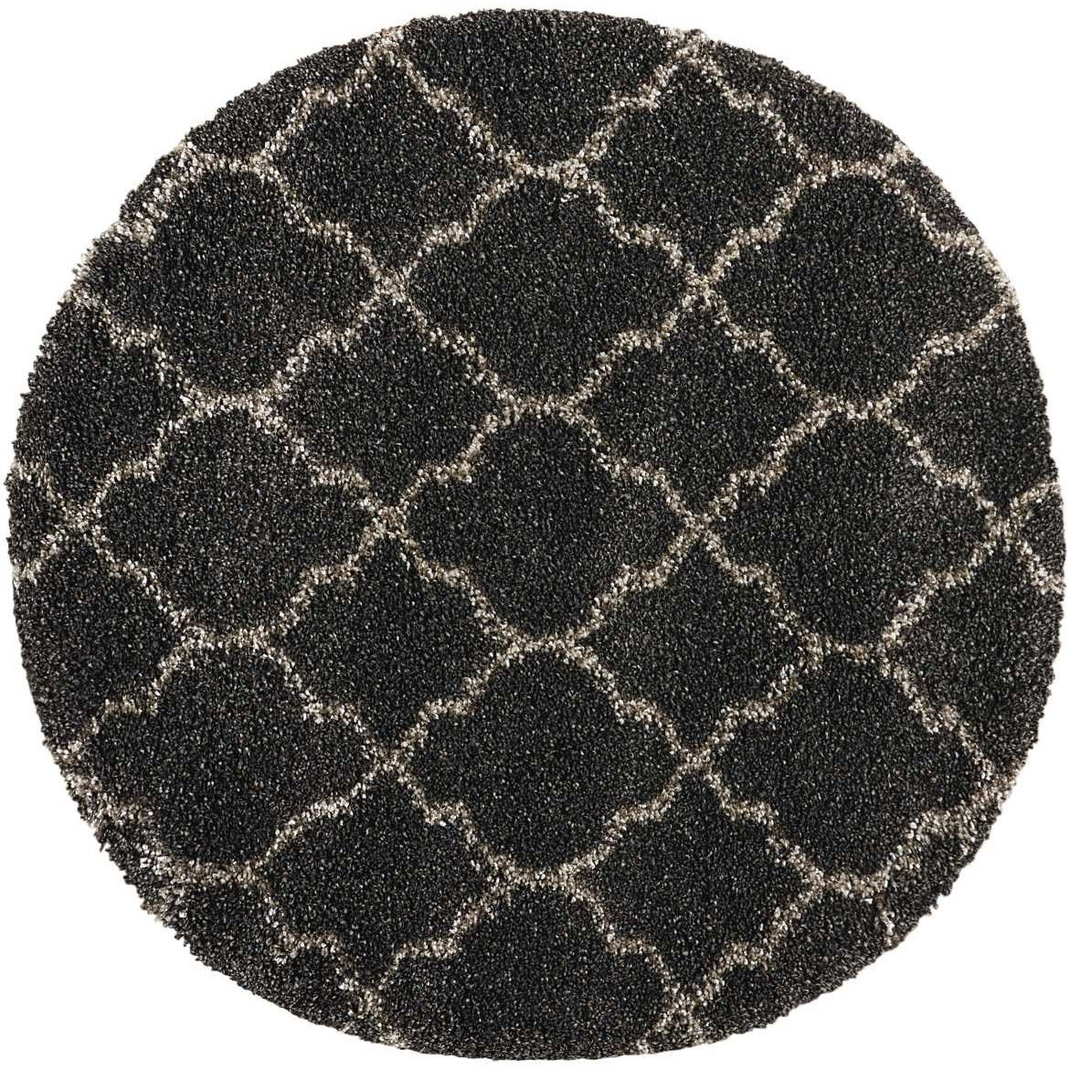 """Amore 3'11"""" x 3'11"""" Charcoal Round Rug by Nourison at Sprintz Furniture"""