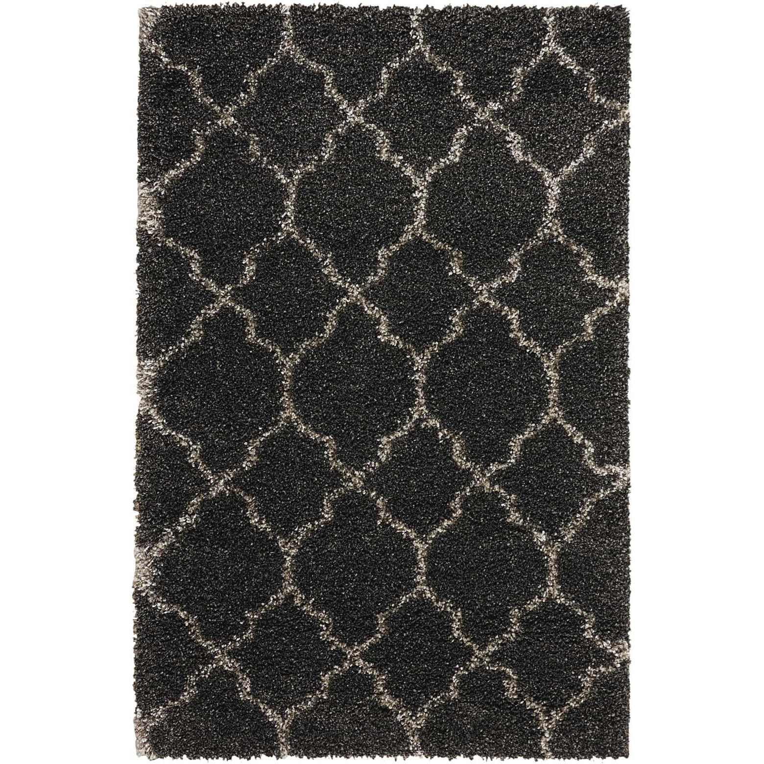 "Amore 3'2"" x 5' Charcoal Rectangle Rug by Nourison at Home Collections Furniture"