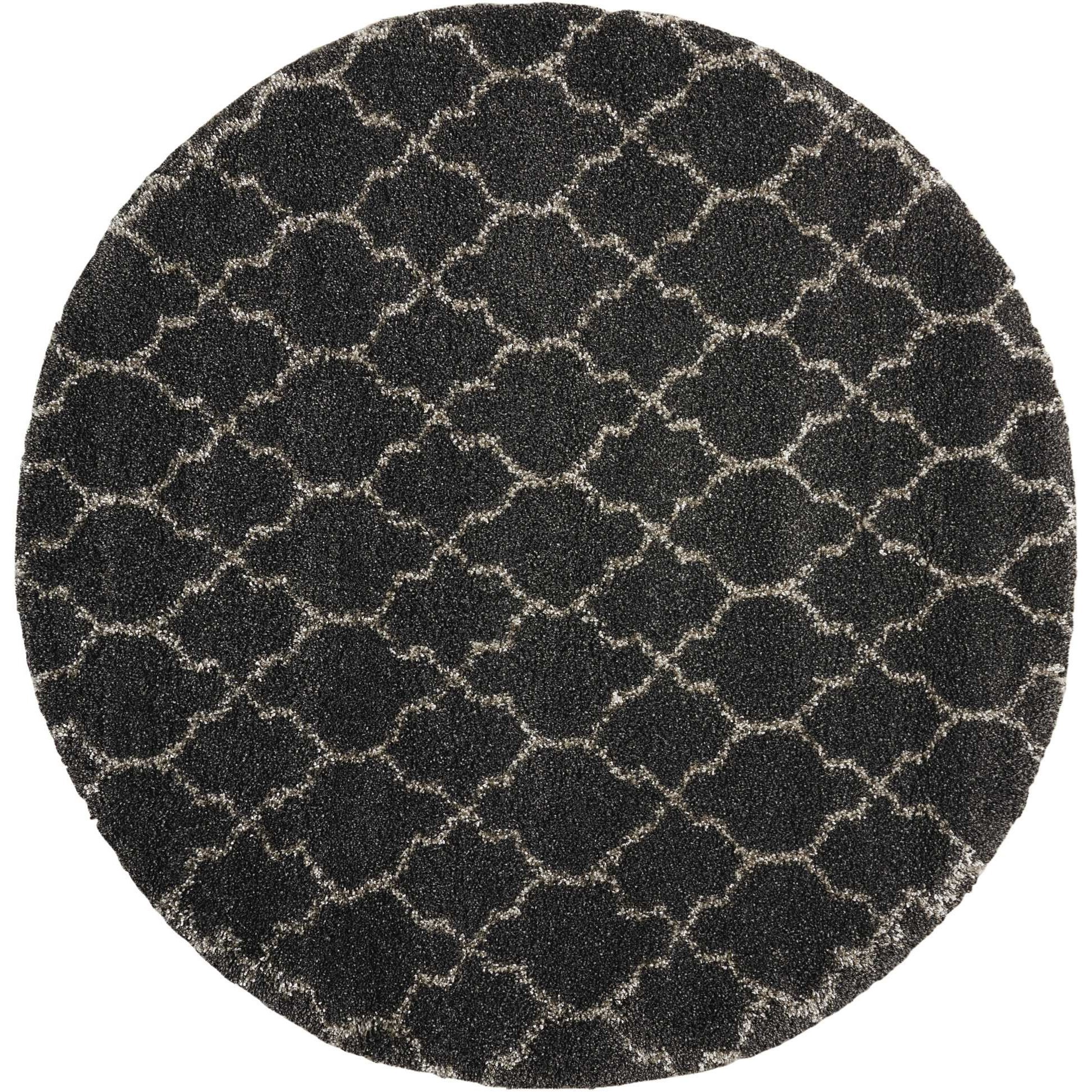 "Amore 6'7"" x 6'7"" Charcoal Round Rug by Nourison at Home Collections Furniture"