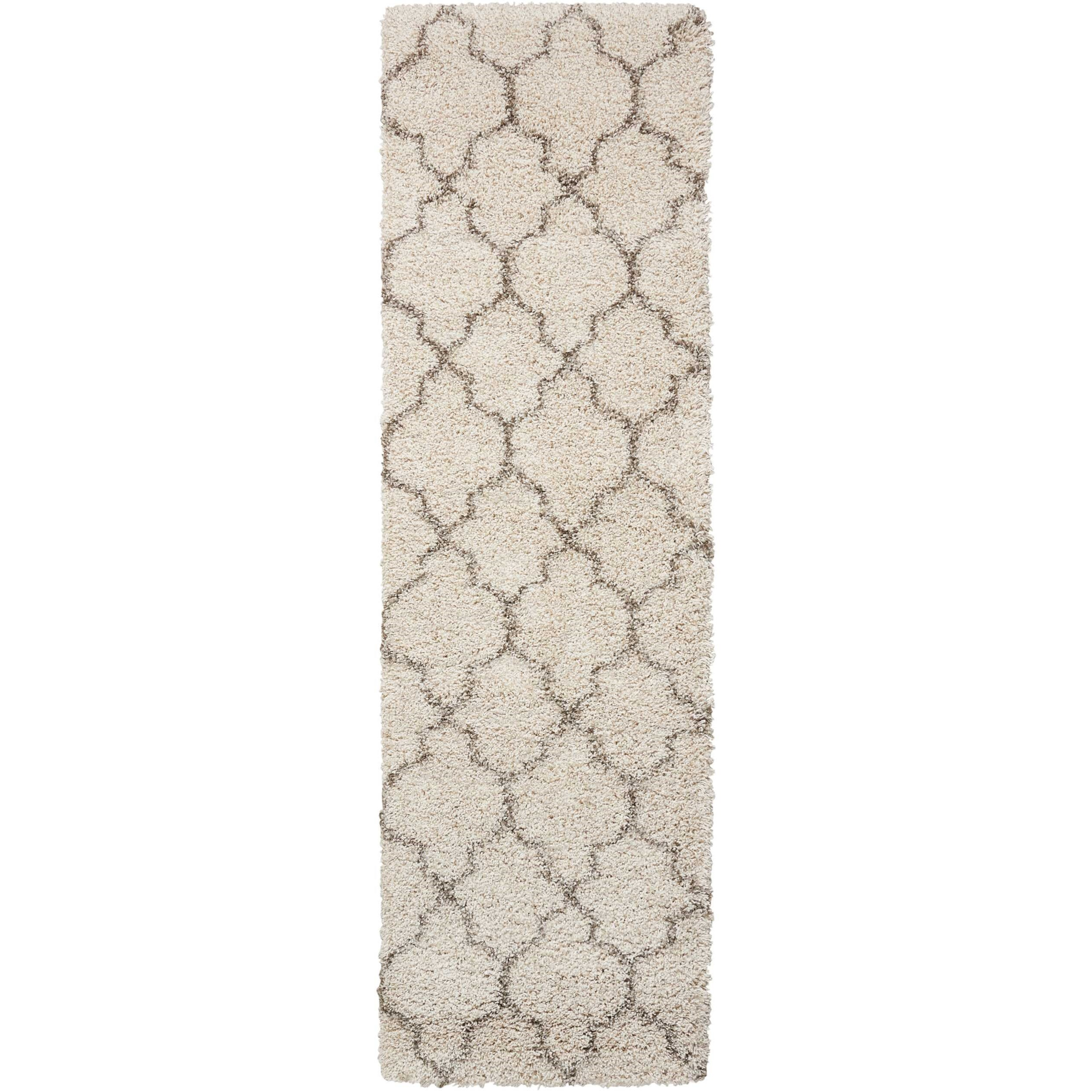 "Amore 2'2"" x 7'6"" Cream Runner Rug by Nourison at Home Collections Furniture"