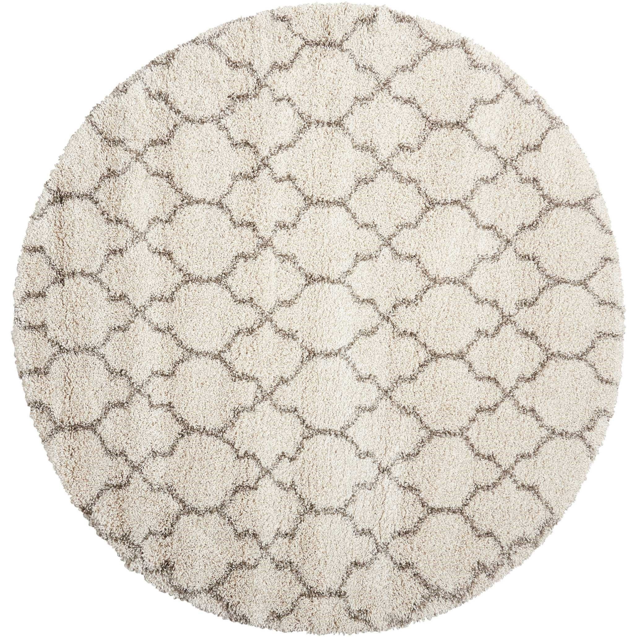 "Amore 6'7"" x 6'7"" Cream Round Rug by Nourison at Home Collections Furniture"