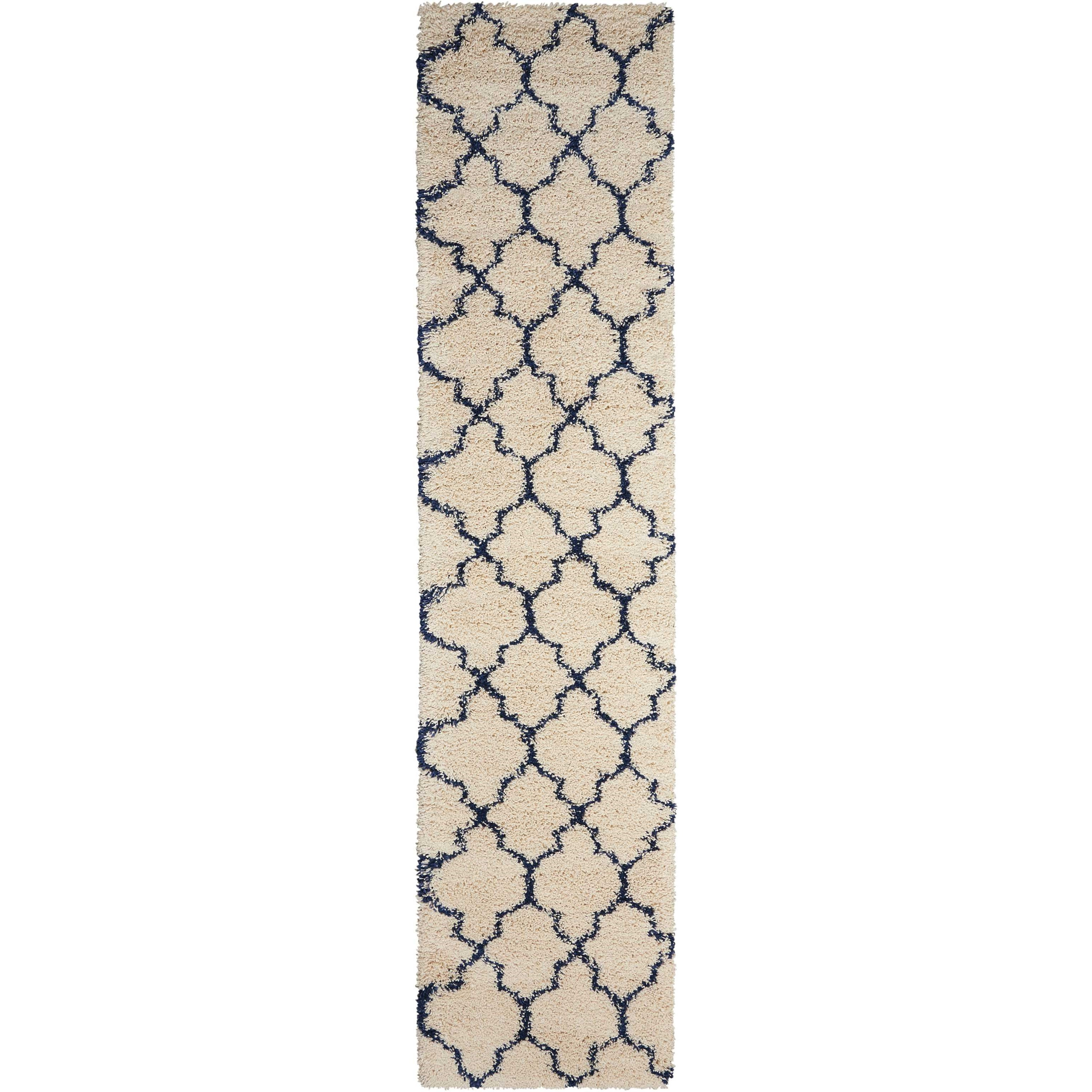 """Amore 2'2"""" x 10' Ivory/Blue Runner Rug by Nourison at Home Collections Furniture"""