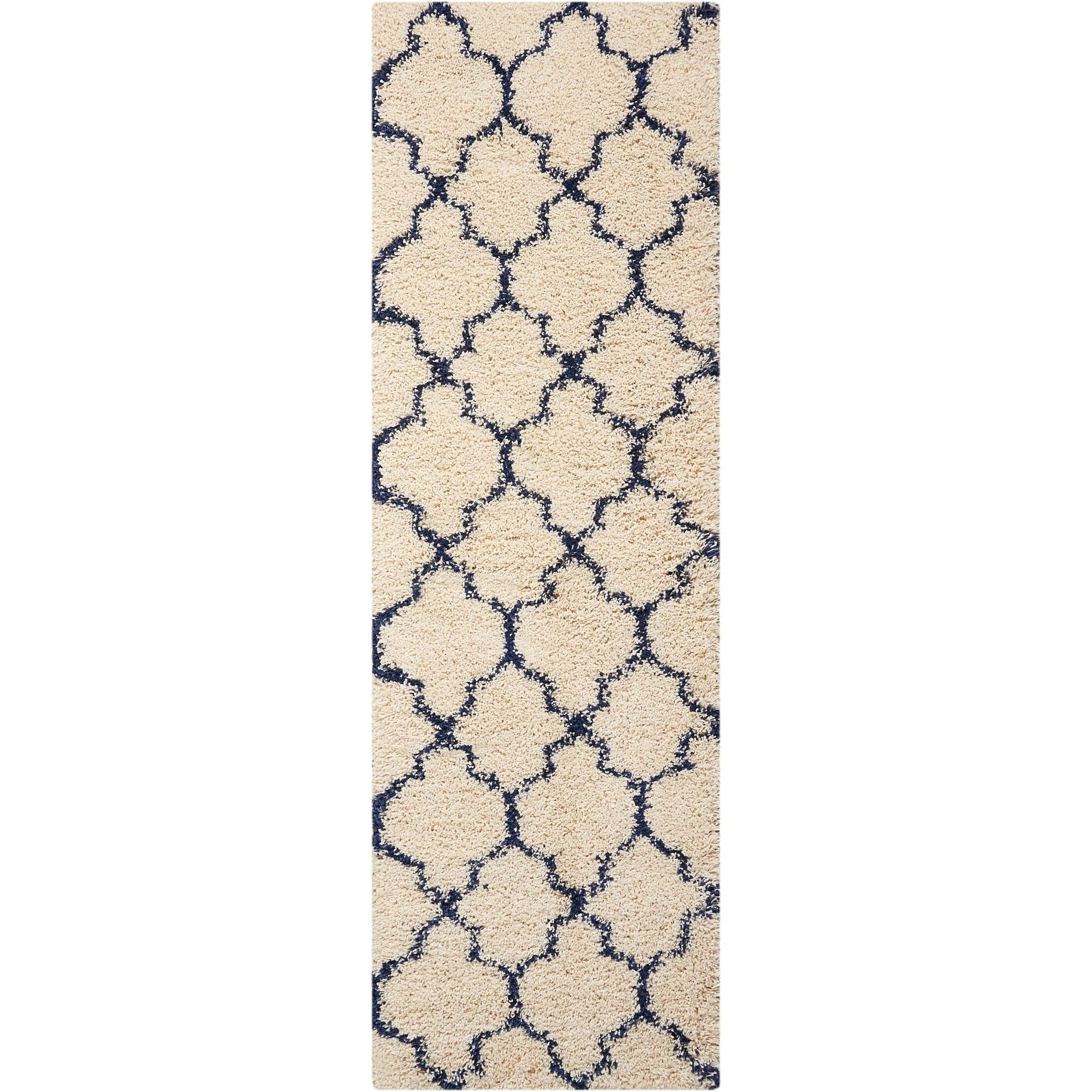 "Amore 2'2"" x 7'6"" Ivory/Blue Runner Rug by Nourison at Home Collections Furniture"