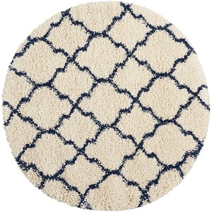 "Nourison Amore 3'11"" x 3'11"" Ivory/Blue Round Rug"