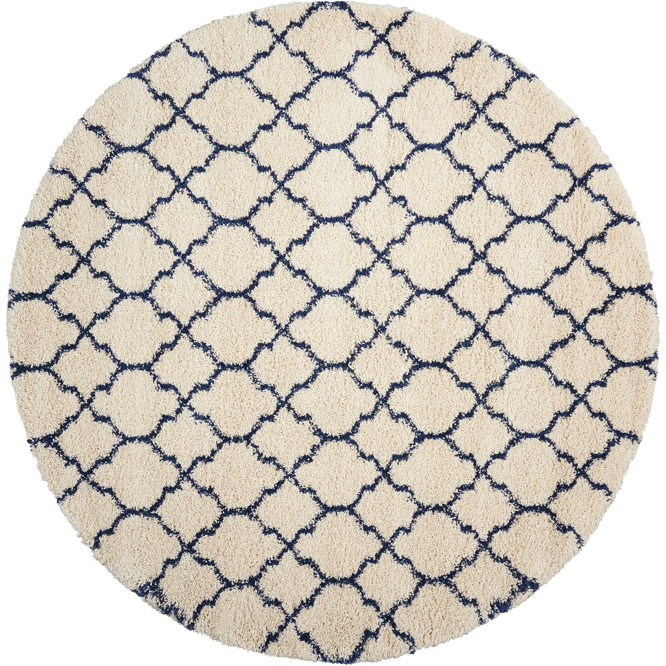 "Amore 7'10"" x 7'10"" Ivory/Blue Round Rug by Nourison at Home Collections Furniture"