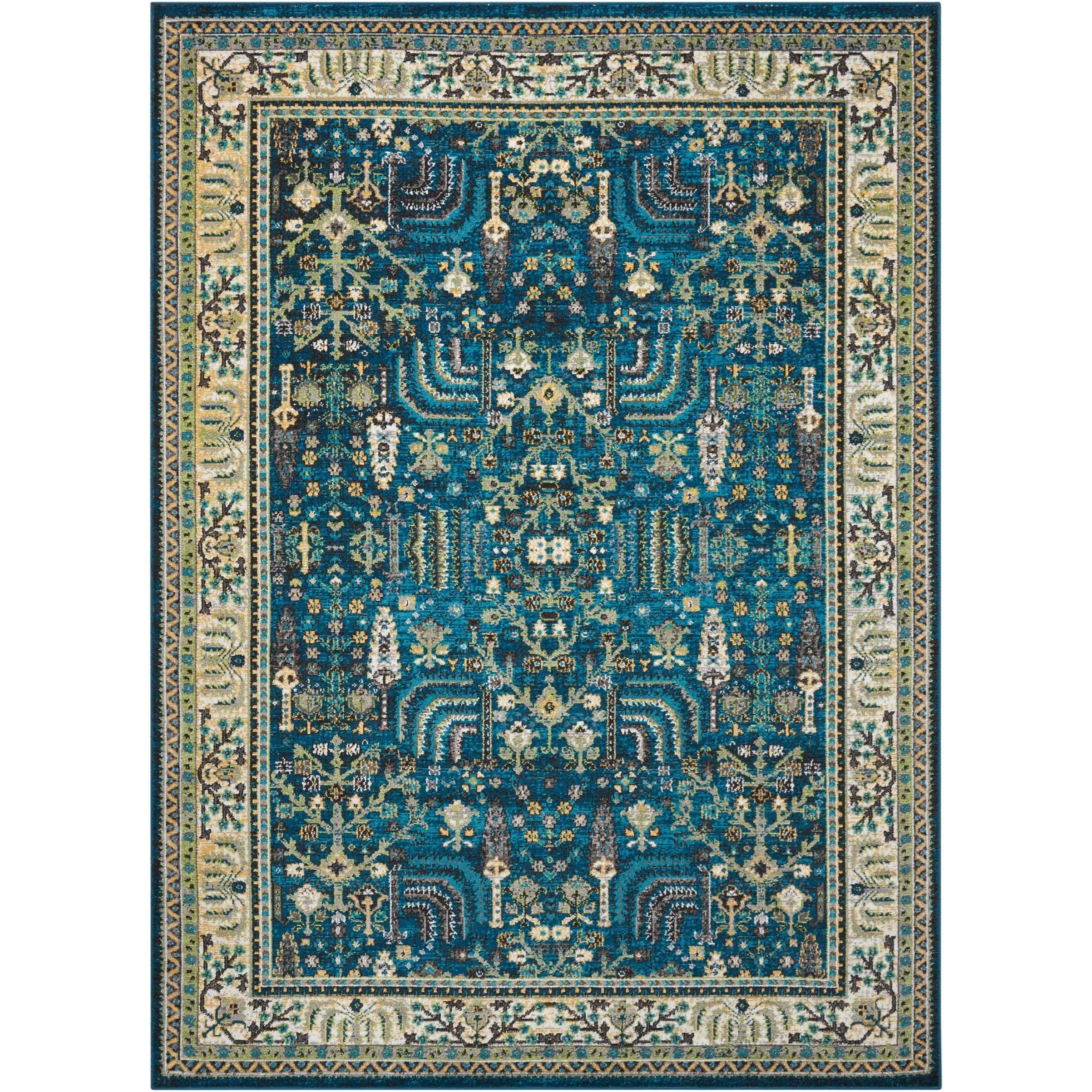 """Aria 5'3"""" X 7'3"""" Teal Rug by Nourison at Sprintz Furniture"""