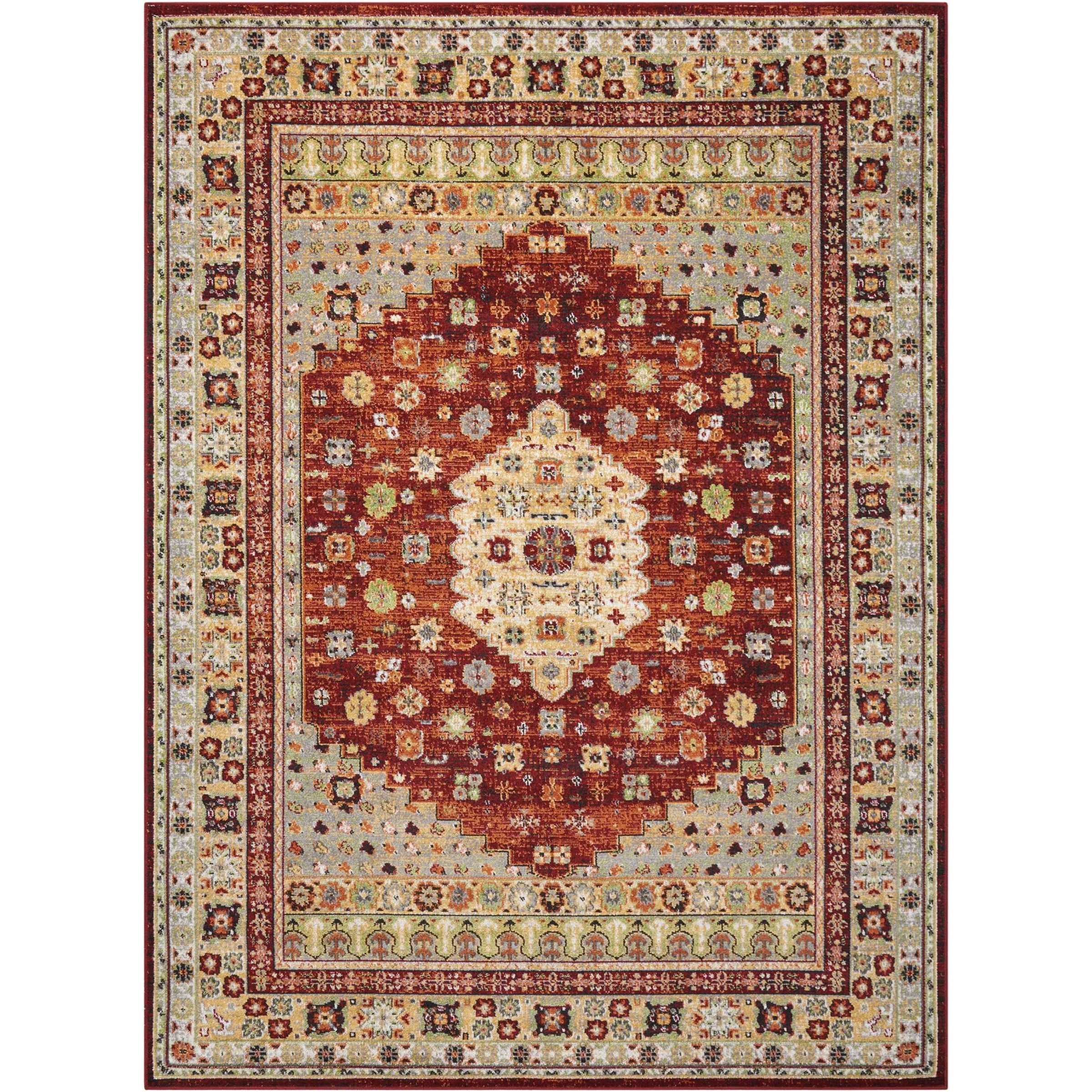 "Aria 5'3"" X 7'3"" Brick Rug by Nourison at Sprintz Furniture"