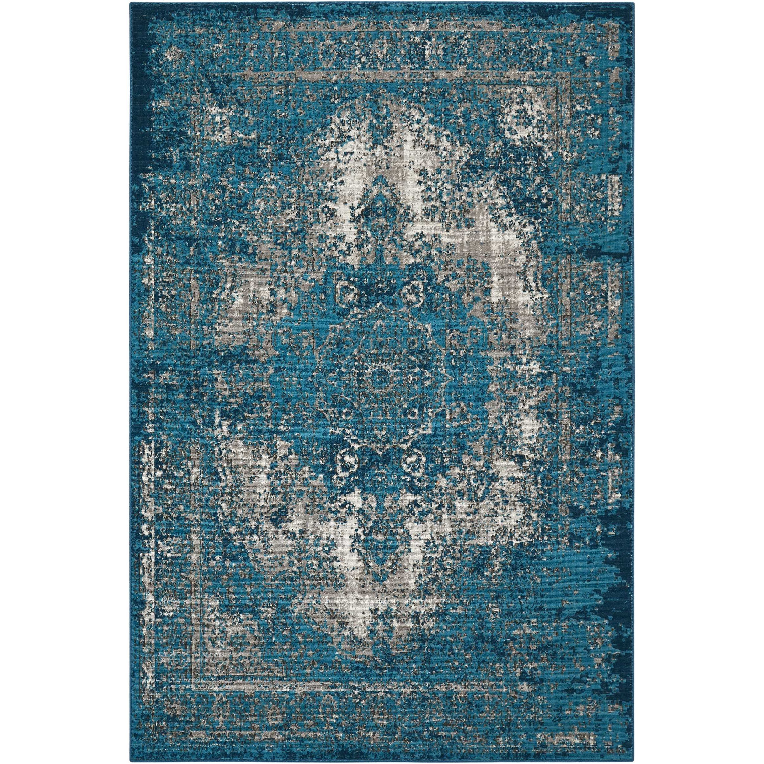 "Aria 3'11"" X 5'11"" Teal Rug by Nourison at Sprintz Furniture"