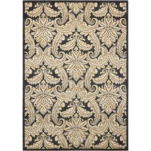 "Nourison Aristo 5'3"" x 7'5"" Black/Beige Rectangle Rug"