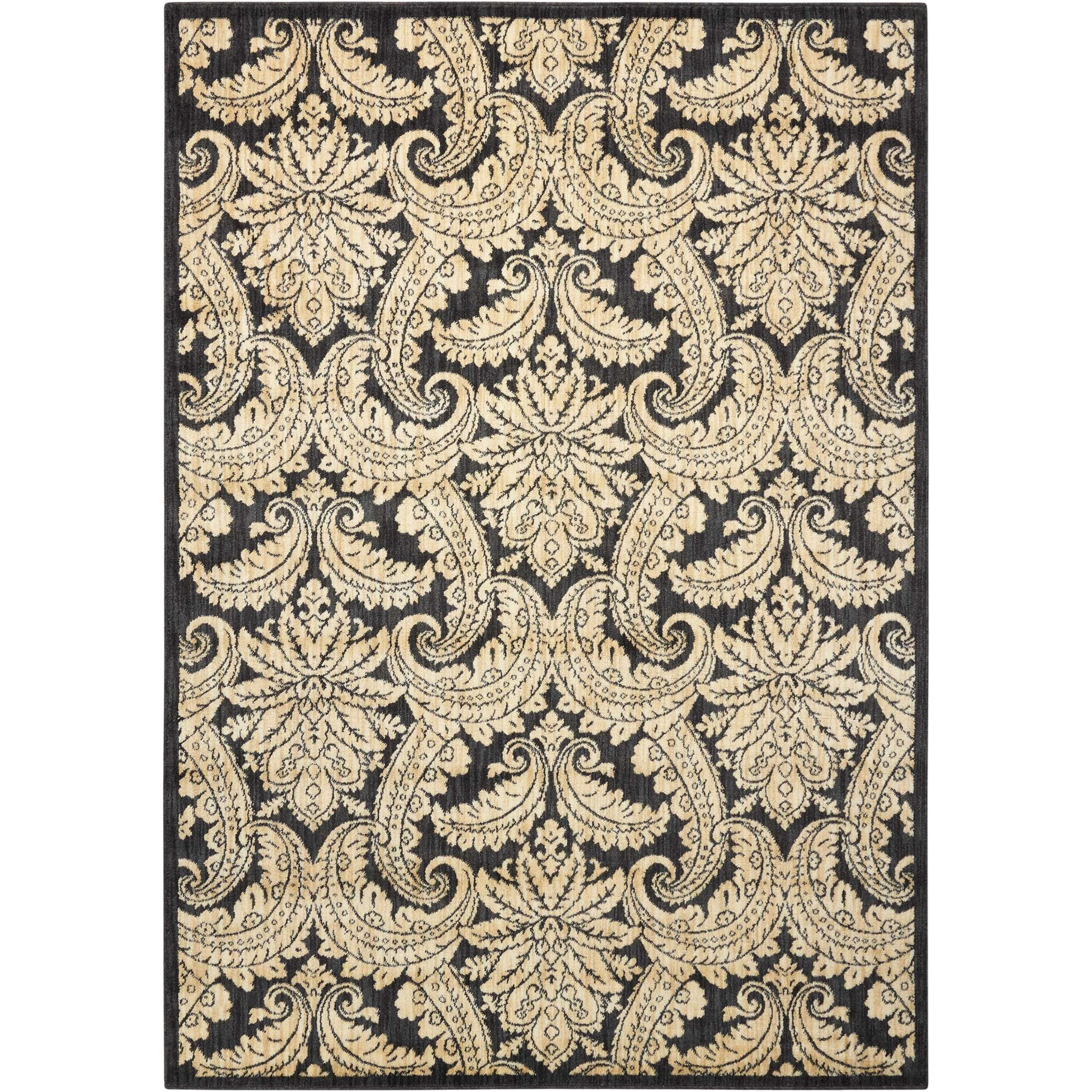 "9'3"" x 12'9"" Black/Beige Rectangle Rug"