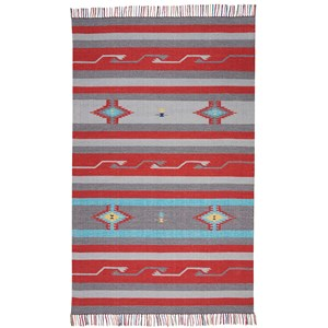 """3'6"""" X 5'6"""" Gry/Red Rug"""