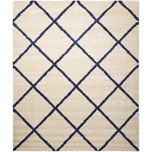 5' x 7' Ivory/Blue Rectangle Rug