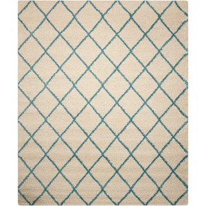 "Nourison Brisbane 8'2"" x 10' Ivory/Aqua Rectangle Rug"