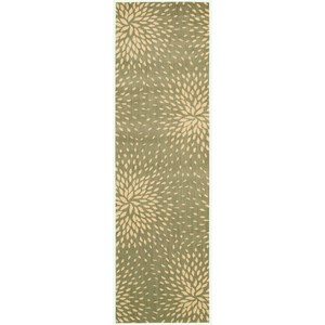 "Nourison Capri 2'3"" x 8' Light Green Area Rug"