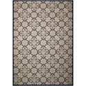"Nourison Caribbean 9'3"" x 12'9"" Ivory/Navy Rectangle Rug - Item Number: CRB02 IVNAV 93X129"