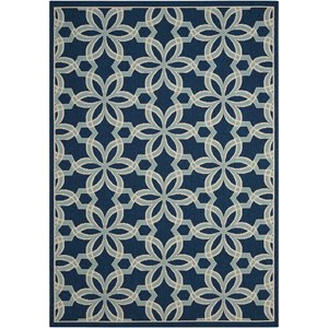 "Nourison Caribbean 9'3"" x 12'9"" Navy Rectangle Rug"