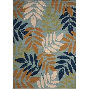 "Nourison Caribbean 9'3"" x 12'9"" Blue Rectangle Rug"