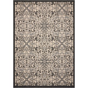 "Nourison Caribbean 2'3"" X 7'6"" Ivory/Charcoal Rug"