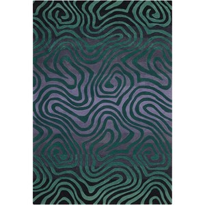 "Nourison Contour 5' x 7'6"" Smoke Teal Rectangle Rug"