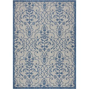 "Nourison Country Side 7'10"" X 10'6"" Ivory Blue           Rug"