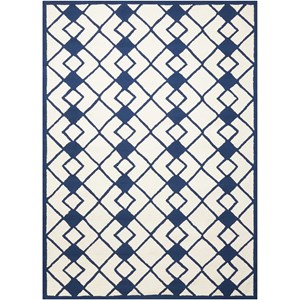 "Nourison Decor1 2'6"" X 3'10"" Ivory/Navy Rug"
