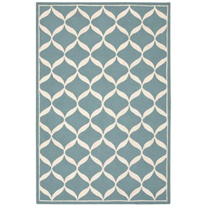"Nourison Decor1 2'6"" X 3'10"" Aqua/White Rug"