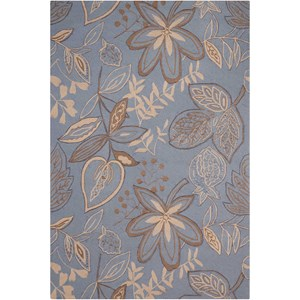 "Nourison Fantasy 2'6"" x 4' Light Blue Rectangle Rug"