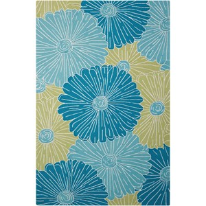 "Nourison Fantasy 3'6"" x 5'6"" Seafoam Rectangle Rug"