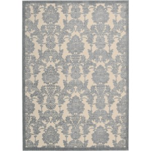 "Nourison Graphic Illusions 2'3"" x 3'9"" Ivory/Light Blue Area Rug"