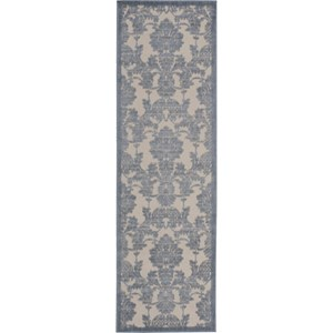"Nourison Graphic Illusions 2'3"" x 8' Ivory/Light Blue Area Rug"