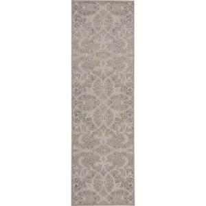 "Nourison Graphic Illusions 2'3"" x 8' Beige Sand Area Rug"