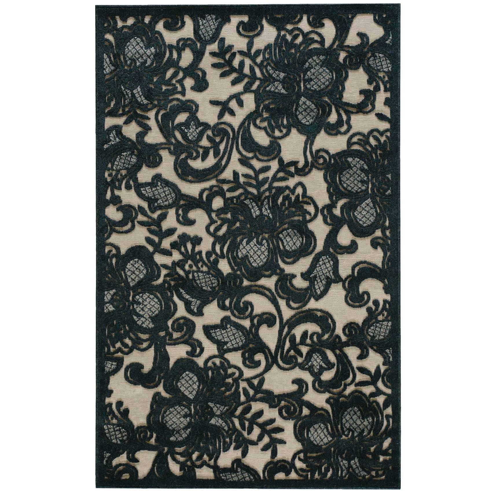 "Nourison Graphic Illusions 3'6"" x 5'6"" Pewter Rectangle Rug - Item Number: GIL02 PEWTR 36X56"