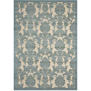 "Nourison Graphic Illusions 3'6"" x 5'6"" Teal Rectangle Rug"