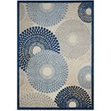 "Nourison Graphic Illusions 2'3"" x 3'9"" Ivory Blue Rectangle Rug - Item Number: GIL04 IVBLU 23X39"