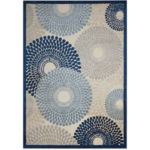 "7'9"" x 10'10"" Ivory Blue Rectangle Rug"