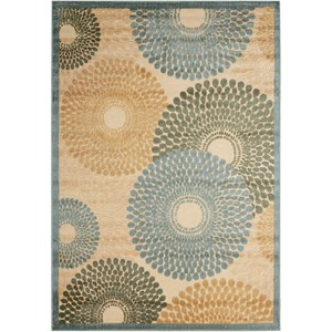 "Nourison Graphic Illusions 5'3"" x 7'5"" Teal Rectangle Rug"