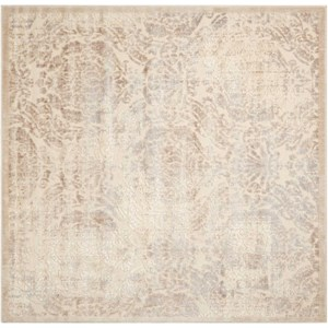 "Nourison Graphic Illusions 6'7"" x 6'7"" Ivory Square Rug"
